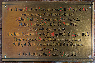 Atkinson Memorial in Seagoe Parish Church, Portadown, Co. Armagh