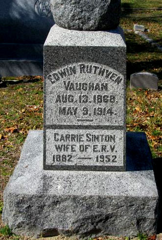 Headstone of Edwin Ruthven Vaughan 1868 - 1914, image 2