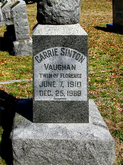 Headstone of Carrie Sinton Vaughan 1910 - 1988
