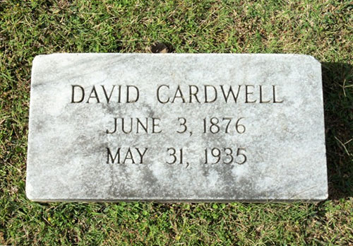 Headstone of David Cardwell 1876 - 1935