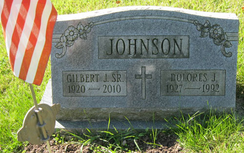 Headstone of Gilbert J. Johnson 1920 - 2010