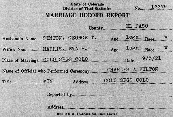 Marriage record for George Taylor Sinton and Eva Belle Harris on 3 September 1921