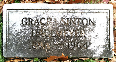 Headstone of Grace Hagemeyer (née Sinton) 1884 - 1964