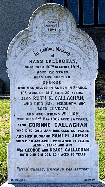 Headstone of William Callaghan 1893 - 1967