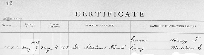 Marriage Certificate of Henry Taylor Ensor and Elizabeth Caroline Howard - 2 May 1908