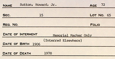 Cemetery Record for Howard Sutton Jnr. 1906 - 1978