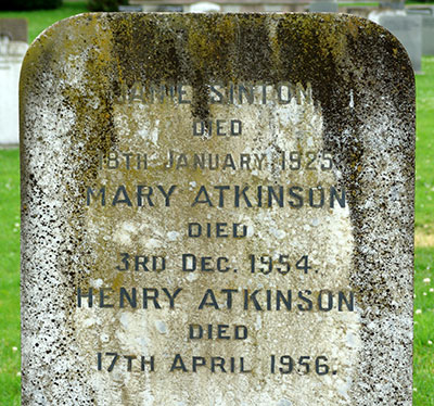 Headstone of Henry Atkinson 1877 - 1956