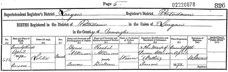 Birth Certificate of Letitia Atkinson - 23 April 1870