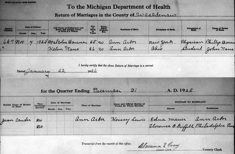 Marriage Registration of Malcolm Graham Bourne and Helen Mae Kane - 4 November 1925