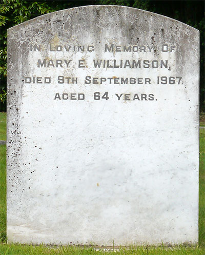 Headstone of Mary Elizabeth Williamson(née Turkington) 1902 - 1967