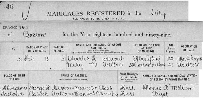 Marriage registration of Charles F. Atwood and Mary M. Walton