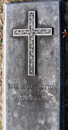 Headstone of Nell Sutton (née Sinton) 1885 - 1968