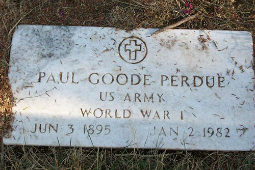 Headstone of Paul Goode Perdue 1895 - 1982