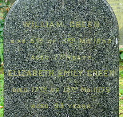 Headstone of William Green 1881 - 1959
