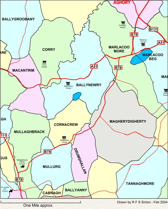 Townlands around Ballynewry, Co. Armagh